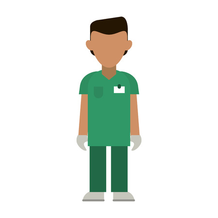 medical male nurse with gloves avatar cartoon vector illustration graphic design
