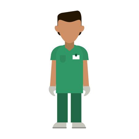 medical male nurse with gloves avatar cartoon vector illustration graphic design