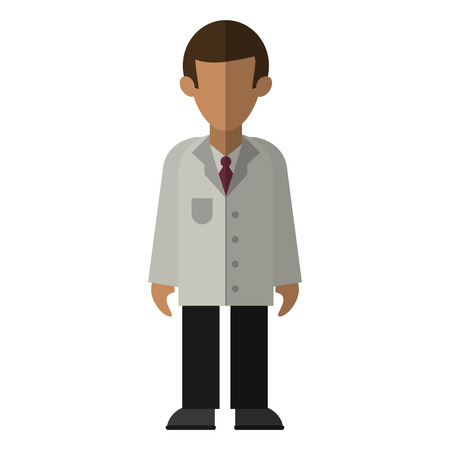 medical doctor with gown avatar cartoon vector illustration graphic design Çizim
