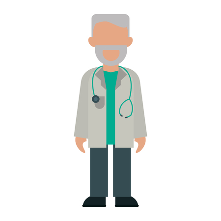 medical doctor with stethoscope avatar cartoon vector illustration graphic design