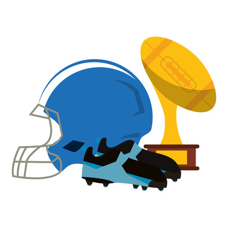 American football game trophy cup and boots with helmet vector illustration graphic design