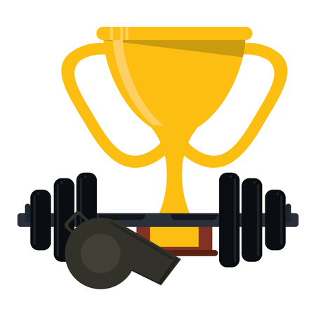 American football game trophy cup and kettlebell with whistle vector illustration graphic design
