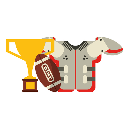 American football game armour and trophy cup with ball vector illustration graphic design