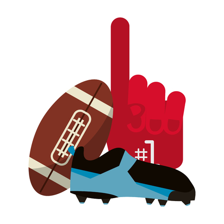 American football game ball boot and fan glove vector illustration graphic design Illustration