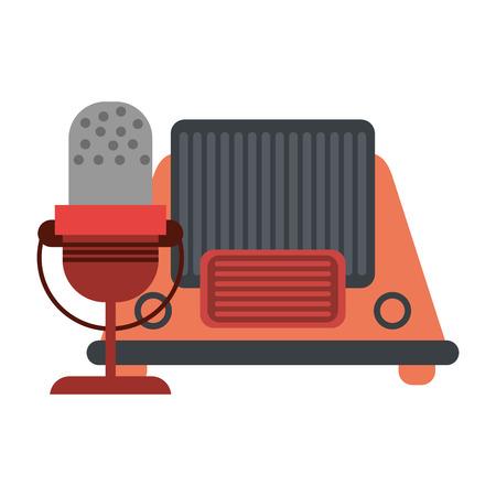 vintage old radio and microphone vector illustration graphic design Illustration