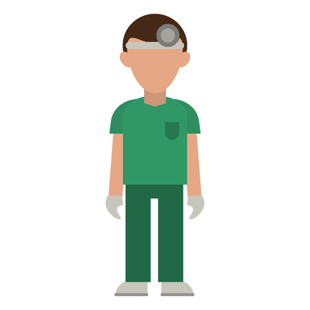 medical male nurse with headlight avatar cartoon vector illustration graphic design Illustration