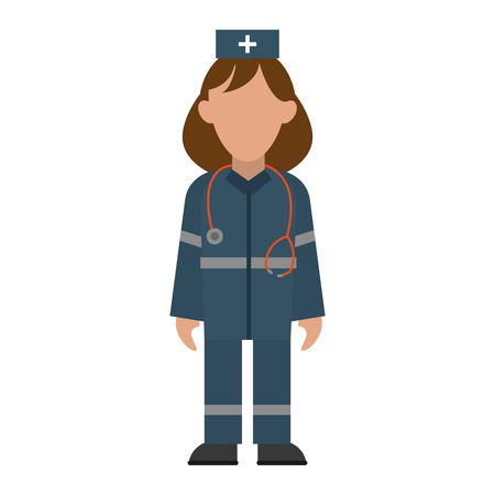 medical paramedic with stethoscope avatar cartoon vector illustration graphic design