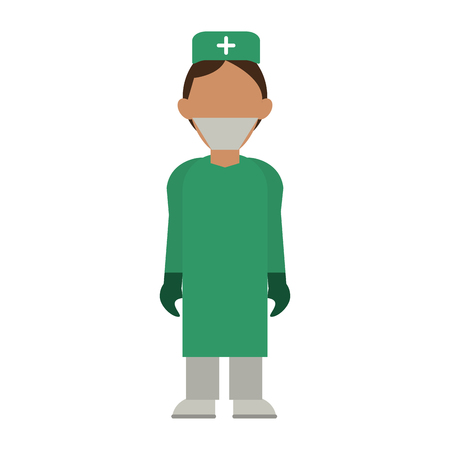 medical doctor with gown and cap avatar cartoon vector illustration graphic design Çizim