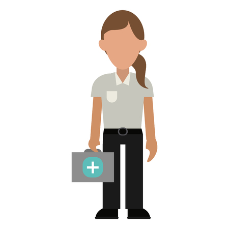paramedic with first aids suitcase vector illustration graphic design Çizim