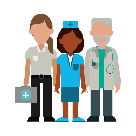 Medical nurse doctor and paramedic teamwork avatar vector illustration graphic design