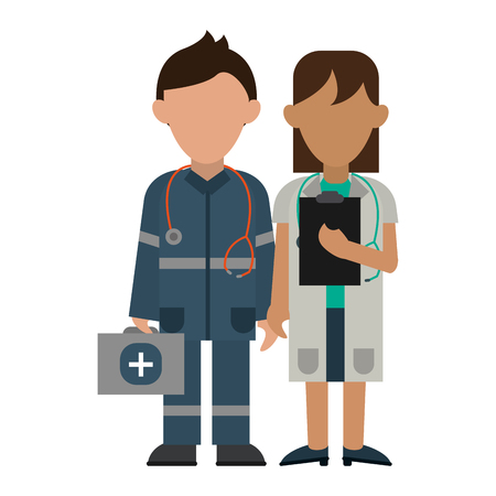 Medical paramedic and doctor teamwork avatar vector illustration graphic design Çizim