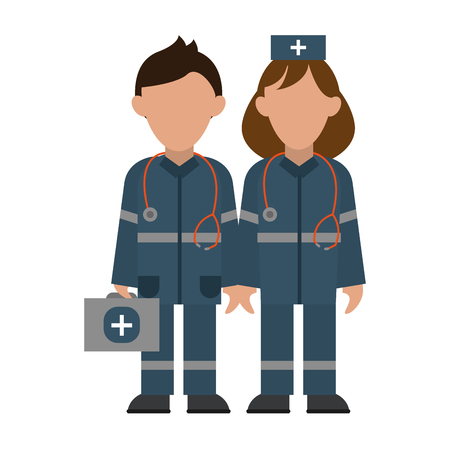 Medical paramedics with aids suitcase teamwork avatar vector illustration graphic design Çizim