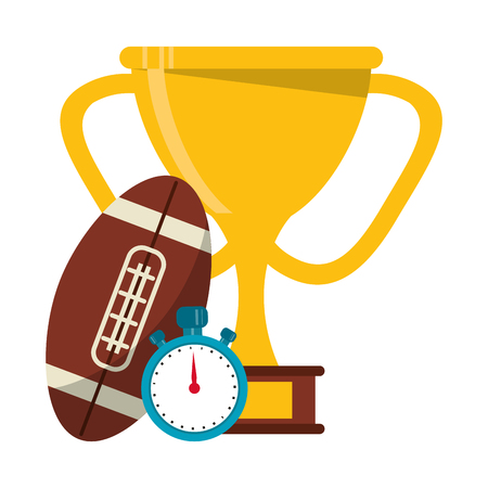 American football game ball trophy cup and timer vector illustration graphic design Illustration