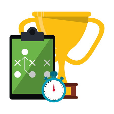 American football game trophy cup strategy blackboard and timer vector illustration graphic design