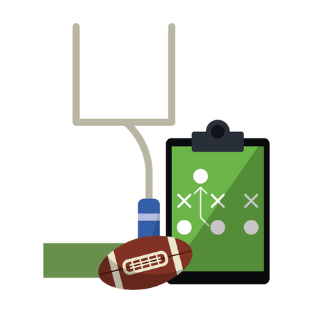 American football game ball goal and strategy blackboard vector illustration graphic design Иллюстрация