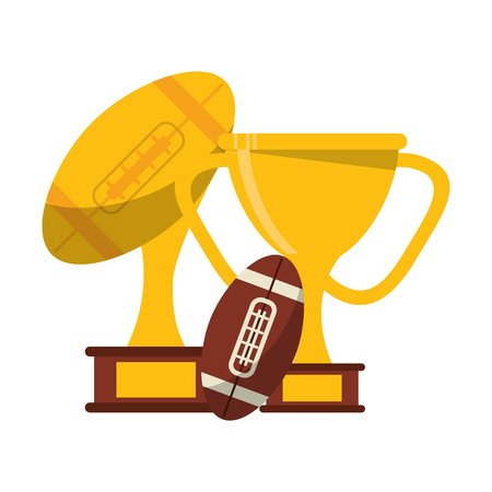 American football game trophy cups and ball vector illustration graphic design