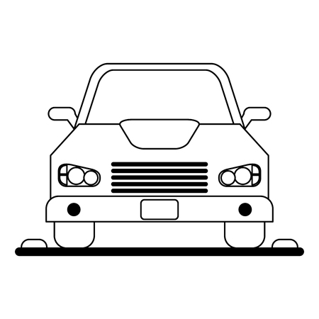 Car vehicle on parking zone frontview vector illustration graphic design