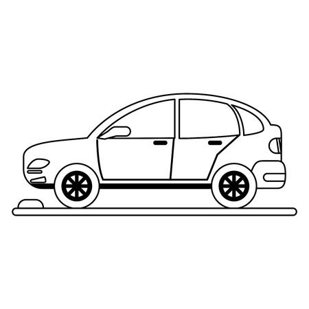 Car vehicle on parking zone sideview vector illustration graphic design Çizim