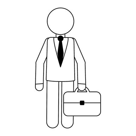 Businessman with briefcase avatar vector illustration graphic design