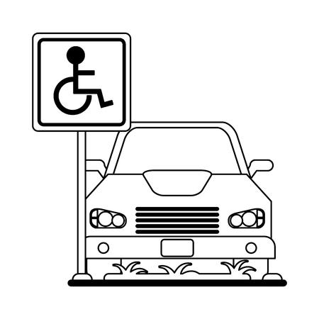 Car on parking handicap zone vector illustration graphic design