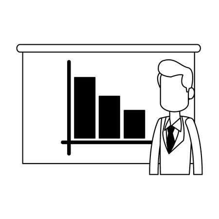 businessman with statistics graph on whiteboard vector illustration graphic design Çizim
