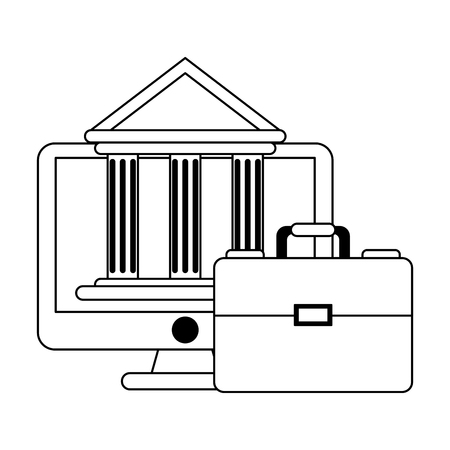 Business and office bank online app and briefcase elements vector illustration graphic design