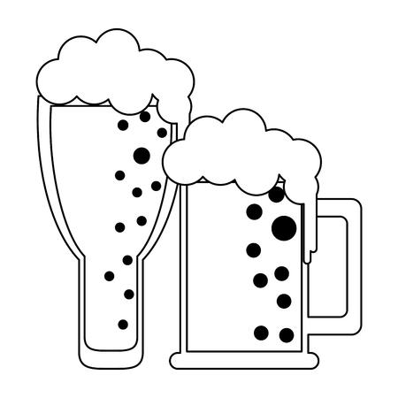 Beers in cups drinks vector illustration graphic design