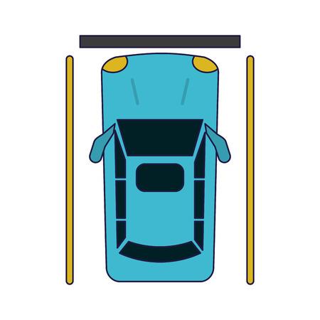 car parked topview symbol vector illustration graphic design Çizim