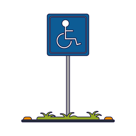 Handicap parking zone road sign vector illustration graphic design Çizim
