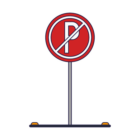 Prohibited parking road sign isolated vector illustration graphic design Çizim