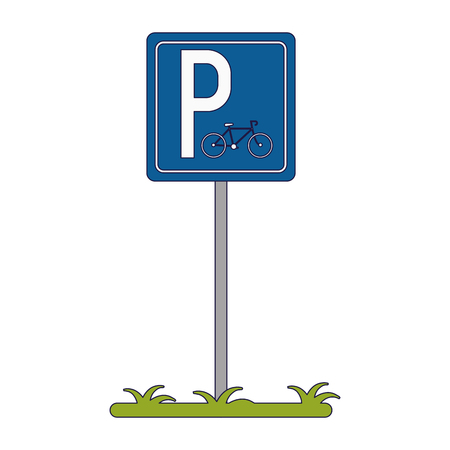 Bicycle parking zone post sign vector illustration graphic design Çizim