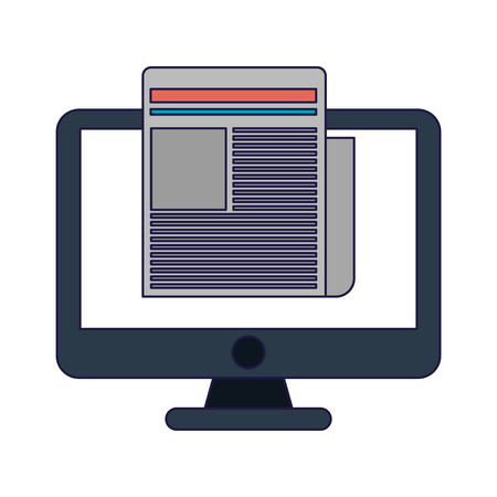 Business and office computer with document elements vector illustration graphic design  イラスト・ベクター素材