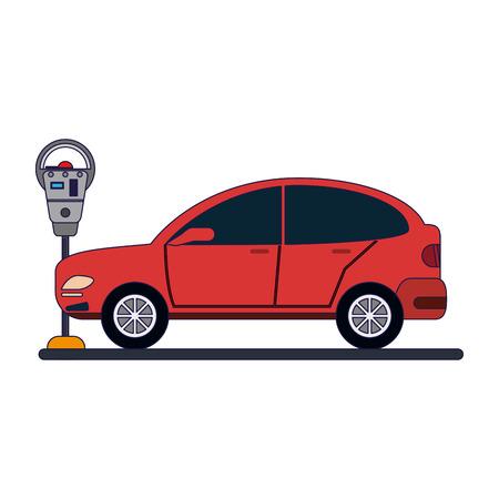 Car on parking meter zone vector illustration graphic design Çizim