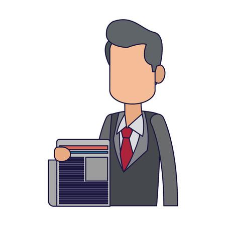 businessman with newspaper avatar vector illustration graphic design