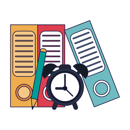 Business and office folders and alarm clock with pencil elements vector illustration graphic design