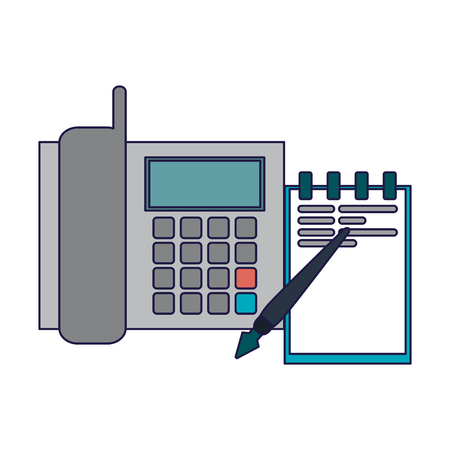 Business and office telephone and notepad with pencil elements vector illustration graphic design  イラスト・ベクター素材