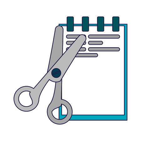 Business and office notepad and scissors elements vector illustration graphic design  イラスト・ベクター素材