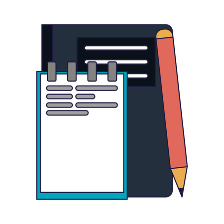 Business and office notepad and pencil elements vector illustration graphic design