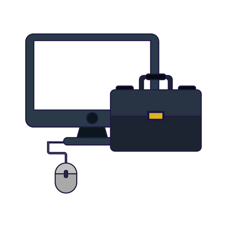 Business and office omputer with mouse and briefcase elements vector illustration graphic design  イラスト・ベクター素材