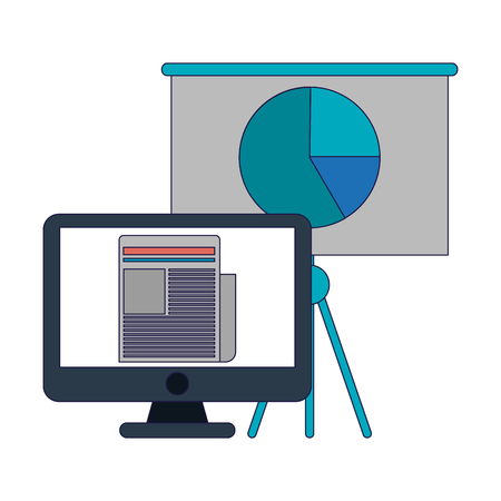 Business and office computer and whiteboard with graph elements vector illustration graphic design