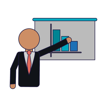 businessman showing statistics on whiteboard avatar vector illustration graphic design