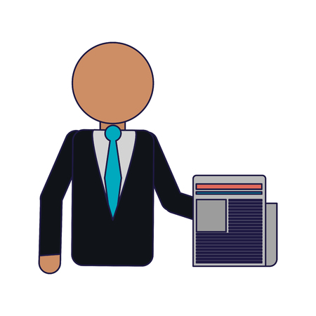 businessman with newspaper avatar vector illustration graphic design Banco de Imagens - 124729994