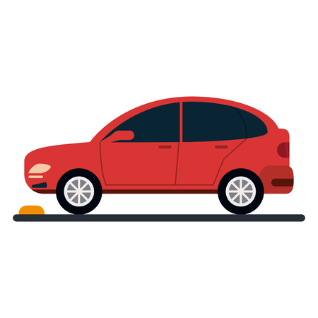 Car vehicle on parking zone sideview vector illustration graphic design Banco de Imagens - 124730001