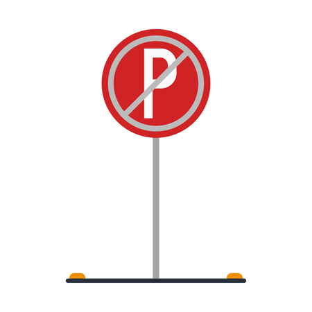Prohibited parking road sign isolated vector illustration graphic design Banco de Imagens - 124730004