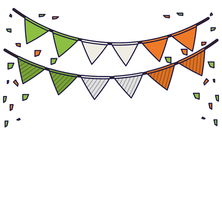 Party pennants decorations irish colors vector illustration graphic design  イラスト・ベクター素材