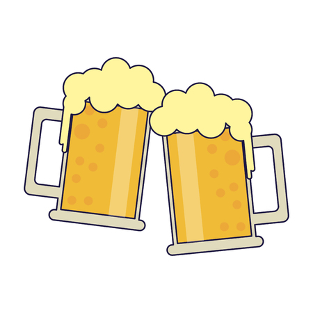 Beers in cups toast symbol vector illustration graphic design