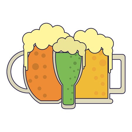 Beers in cups drinks vector illustration graphic design