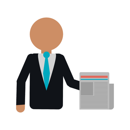 businessman with newspaper avatar vector illustration graphic design