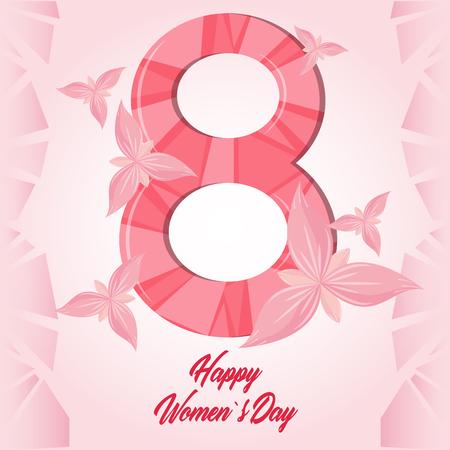 Feliz día de la mujer rosa tarjeta mariposas ilustración vectorial diseño gráfico Ilustración de vector
