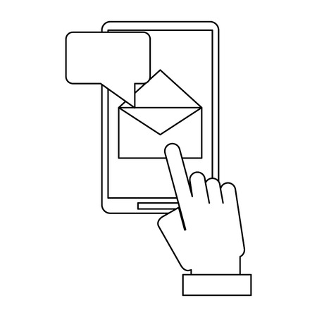 hand sending email with smartphone vector illustration graphic design